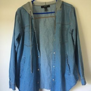 FOREVER 21 Blue Jean Jacket with Hoodie *3 for $15